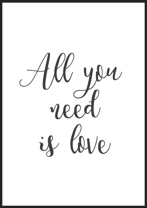 1024 - All you need is love, print, affisch, poster, tavla